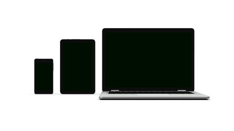 Modern laptop, tablet and smartphone with green screen ビデオ