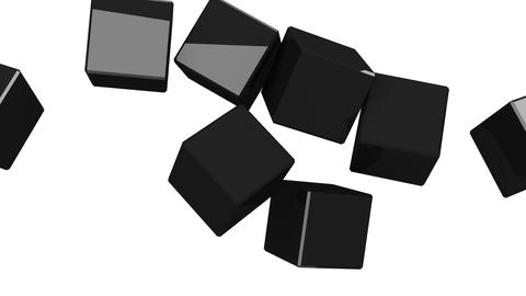 Black Cubes Abstract On White Background CG動画