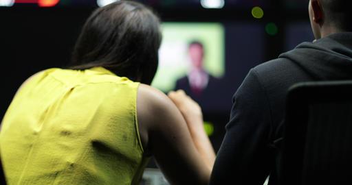 Control room speaking to presenter in TV studio ライブ動画