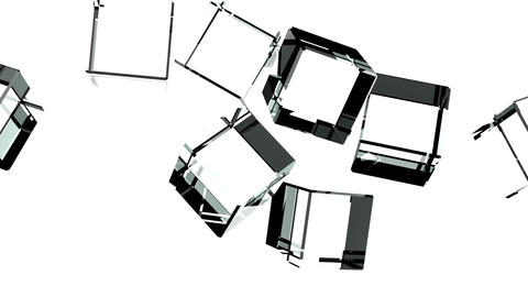 Glass Cubes Abstract On White Background CG動画