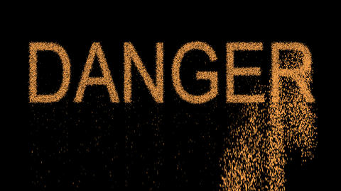 text DANGER appears from the sand, then crumbles. Alpha channel Premultiplied - Animation