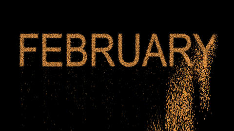 name of the month FEBRUARY appears from the sand, then crumbles. Alpha channel Animation