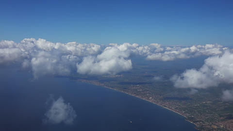 Flight over the Sea at the Level of Clouds Footage
