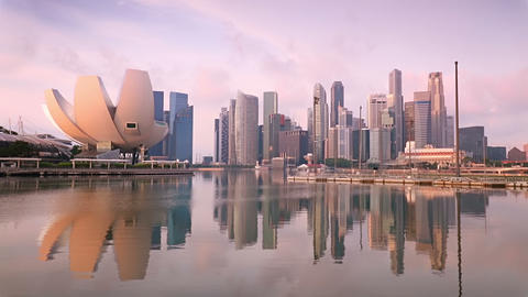 Singapore Skyscrapers and Pink Morning Footage
