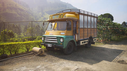 Very old factory truck parked at a Nuwara Eliya tea processing plant Footage