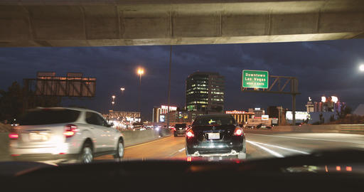 POV Traffic on busy road to Downtown Las Vegas Live Action