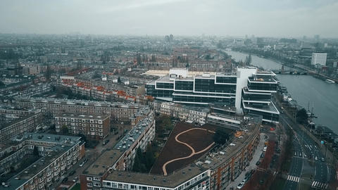 Aerial view of Amsterdam from the southern part towards city center involving Footage