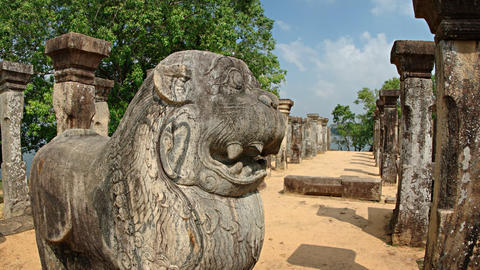 Stone Statue of a Mythical Creature in Ruins at Polonnaruwa Footage