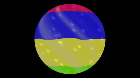 Mauritius flag in a round ball rotates. Flicker and shine. Animation loop ビデオ
