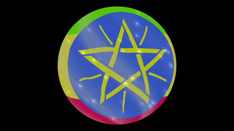 ethiopia flag in a round ball rotates. Flicker and shine. Animation loop ビデオ