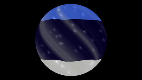 estonia flag in a round ball rotates. Flicker and shine. Animation loop Footage