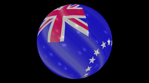 Cook Islands flag in a round ball rotates. Flicker and shine. Animation loop Footage