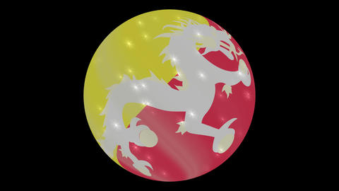 Bhutan flag in a round ball rotates. Flicker and shine. Animation loop ビデオ