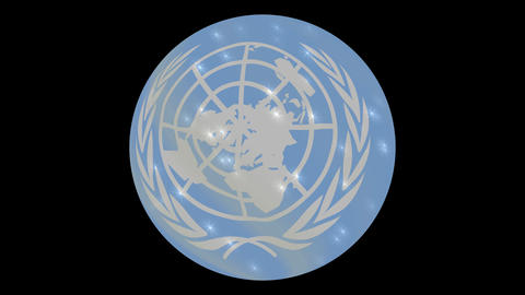 United Nations flag in a round ball rotates. Flicker and shine. Animation loop Live Action