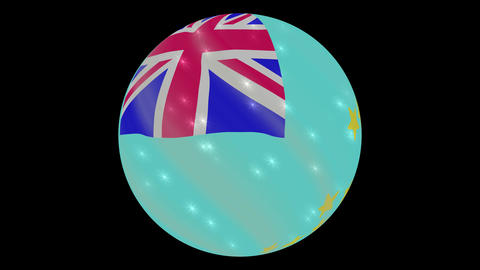 Tuvalu flag in a round ball rotates. Flicker and shine. Animation loop Footage