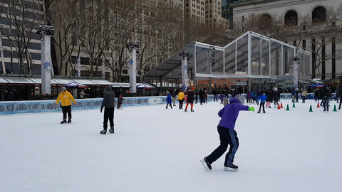 New York City Bryant Park ice skating Footage
