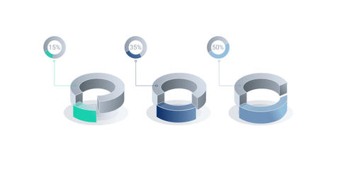 3D Infographic Element with Alpha Channel. Version with numbers ビデオ