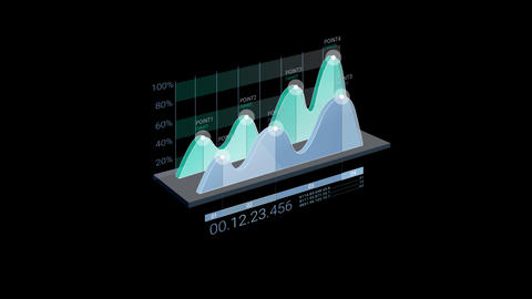 3D Infographic Element with Alpha Channel. Version with numbers CG動画素材
