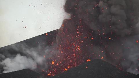 Eruption from vent of Pico do Fogo volcano, Fogo, Cape Verde Footage