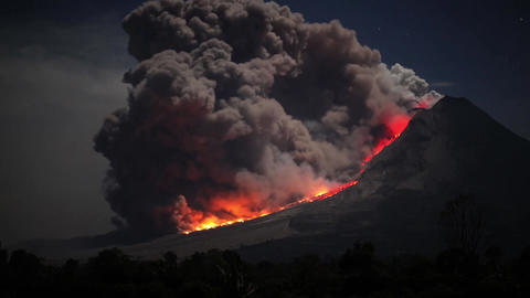 Time lapse footage of pyroclastic flows from Sinabung Volcano in Sumatra, Footage