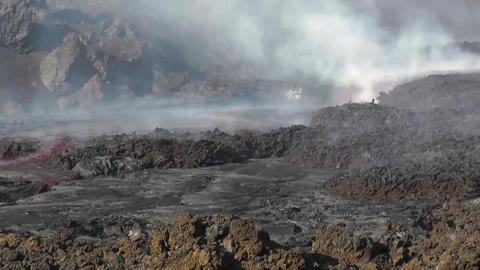 Time lapse of lava flows coming from Pico do Fogo volcano, Fogo, Cape Verde Footage