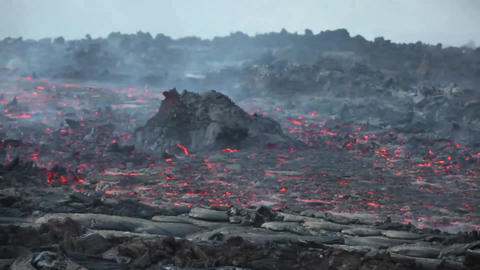 Time lapse of lava flows coming from a channel of Pico do Fogo volcano, Fogo Footage