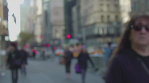 5th Avenue and people in defocus slow motion NYC Footage
