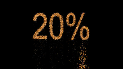 sale tag 20% appears from the sand, then crumbles. Alpha channel Premultiplied - Animation