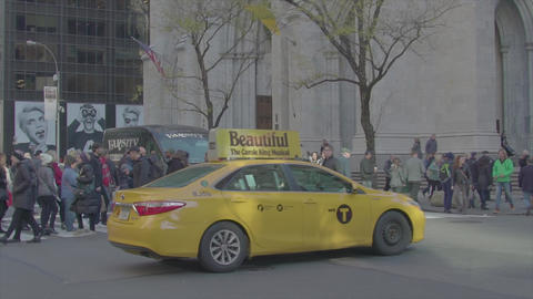 A lot of people on 5th Avenue next to the Church slow motion NYC Footage