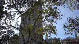 USA New York City Manhattan Flatiron Building seen from Madison Square Park Footage