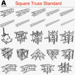 Square Truss Standard (Collection 24 Modular Pieces) 3Dモデル