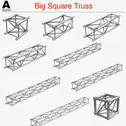 Big Square Truss (Collection 10 Modular Pieces) 3Dモデル