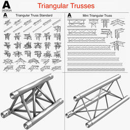 Triangular Truss Standard (Collection 41 Modular Pieces) 3D Model
