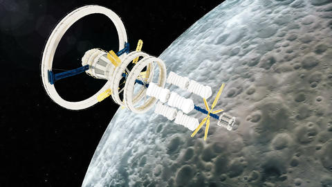 Space station flies around the moon. Beautiful detailed animation Animation