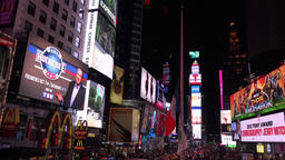 New York night life on the 7th avenue and colorful Times Square Footage