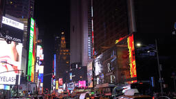 New York car traffic on 7th Avenue Broadway Times Square by night Footage