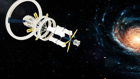 Space station flies around the Galaxy. Beautiful detailed animation. Loopable Animation