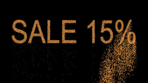 sale tag SALE 15% appears from the sand, then crumbles. Alpha channel Animation