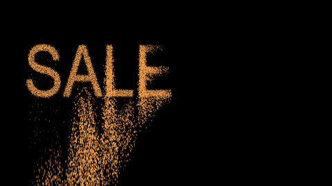 sale tag SALE 10% appears from the sand, then crumbles. Alpha channel Animation
