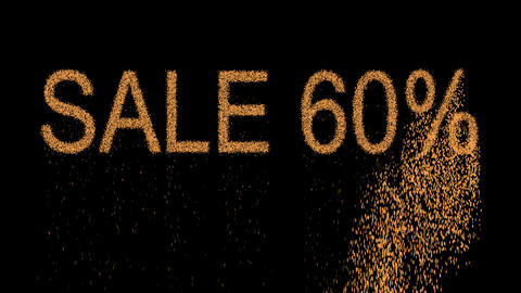 sale tag SALE 60% appears from the sand, then crumbles. Alpha channel Animation