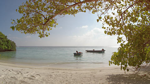 Motorized Dinghies Tied on Mahaanaelhihuraa Island. Maldives GIF