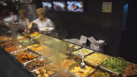Variety of Hot Foods at a Chinese Eatery in Singapore Footage