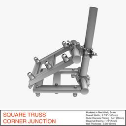 Square Truss Corner Junction 36 3D Model