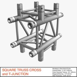 Square Truss Cross and T- Junction 31 3Dモデル