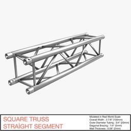 Square Truss Straight Segment 21 3D