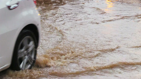 Flooding In The Street of Phuket Footage