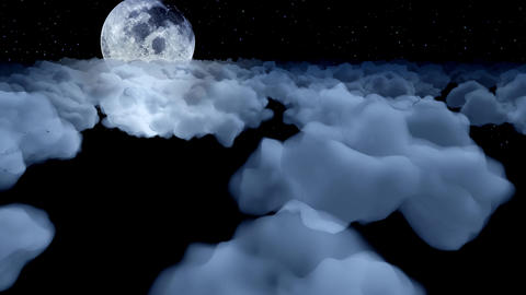 Flying above clouds night moon cartoon aeroplane airplane sky stratosphere 4k Live Action