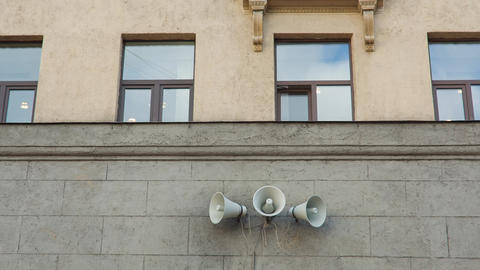 Vintage Loudspeaker On The Wall Footage