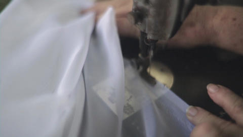 Female Hands Sewn White Tulle Footage