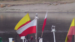 Polish flag on the boat Live Action
